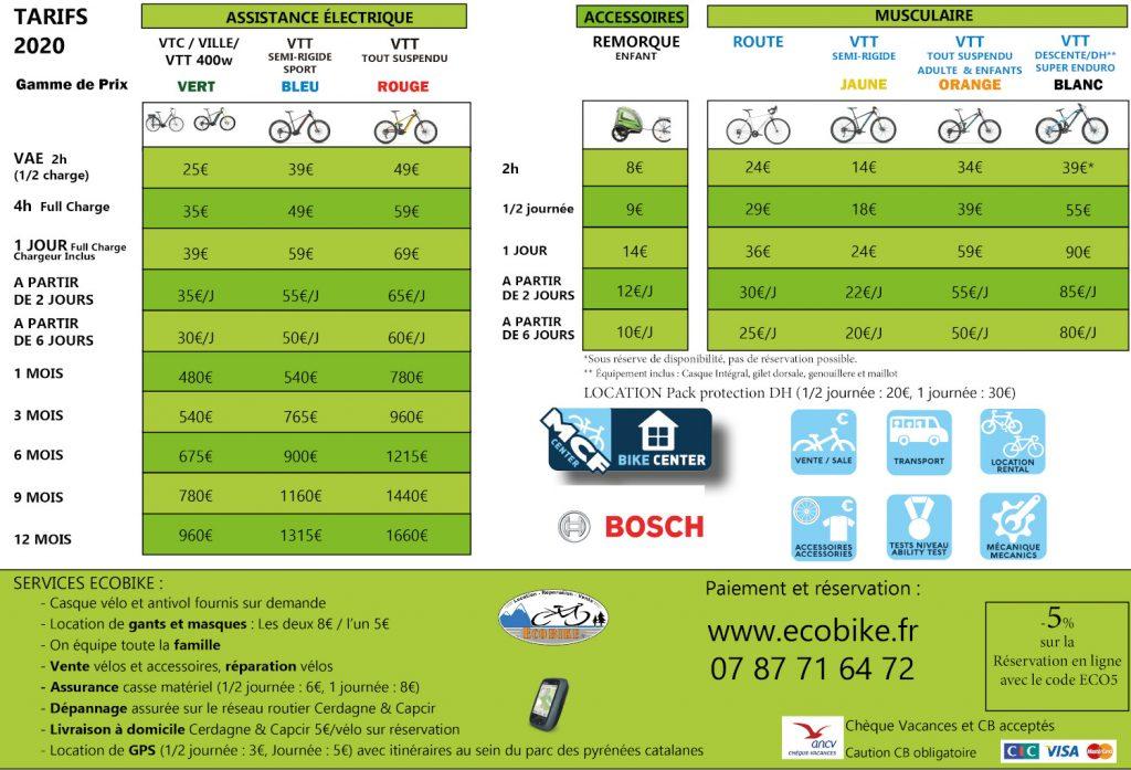 Tarifs location vélos ecobike 66