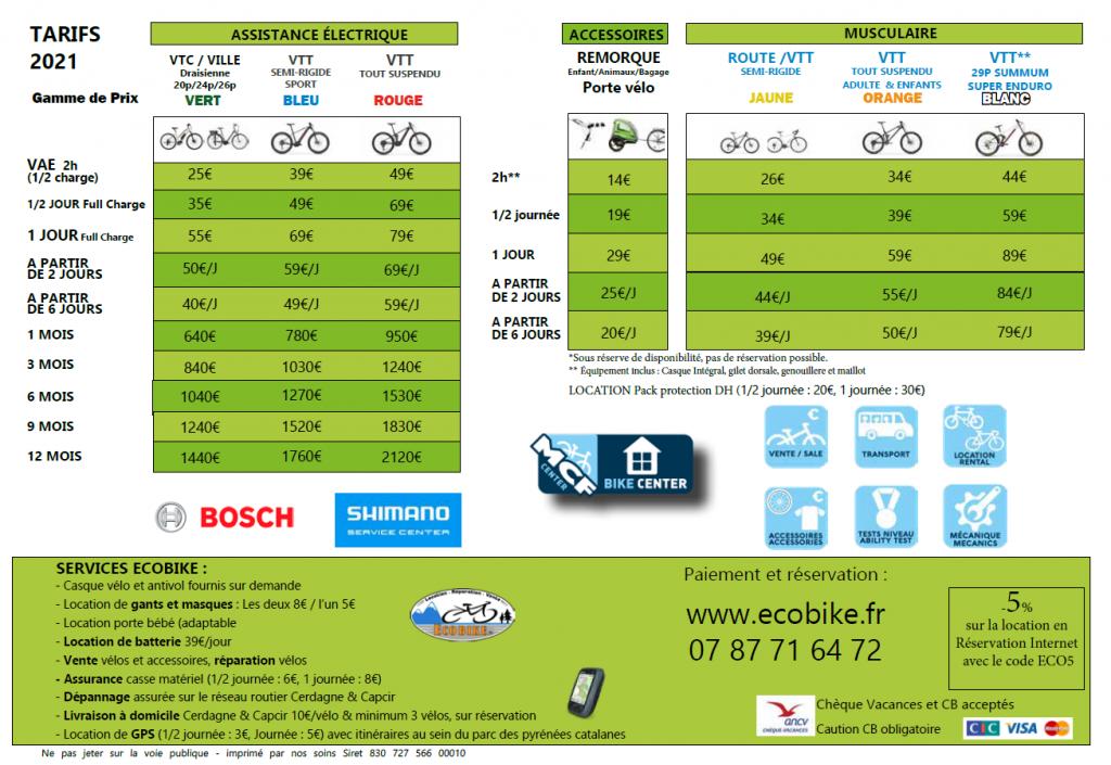 Tarifs location vélos VTT